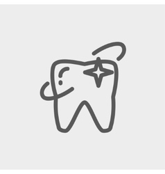 Shining tooth thin line icon vector