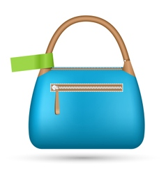 Blue woman spring bag with green sticker isolated vector