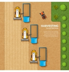 Harvesting top view vector
