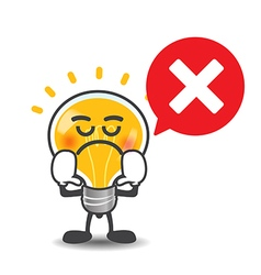 Bulb lamp cartoon isolated say no with red speech vector