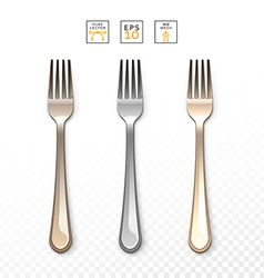 Cutlery fork realistic fork isolated on white set vector