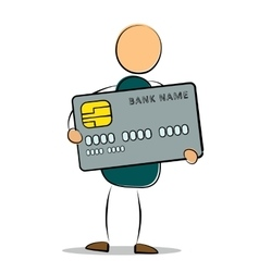 Drawing man standing holding his credit card vector