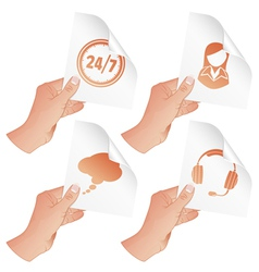 Hand with Business Icons vector image