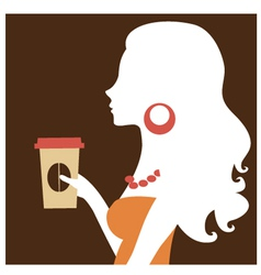 Beautiful silhouette woman holding coffee vector image vector image