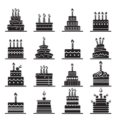 birthday cake set vector image vector image