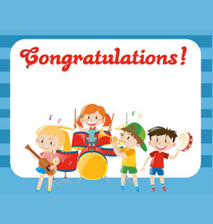 Card template with children in band vector