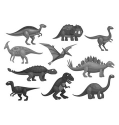 cartoon dinosaurs icons set of jurassic characters vector image