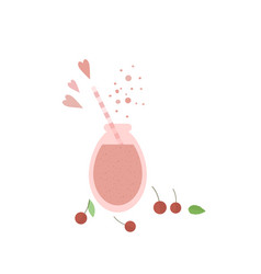 Cherry shake smoothie in glass jar on a table vector