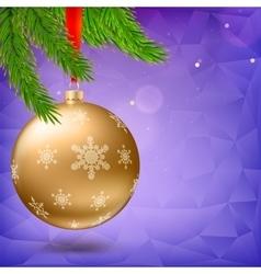 Christmas ball green fir branches tirangles vector