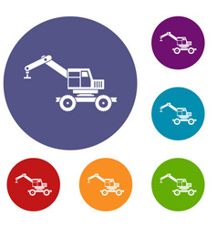 Crane truck icons set vector