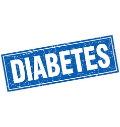Diabetes blue square grunge stamp on white vector