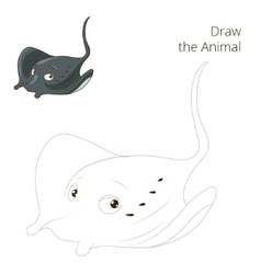 Draw the fish animal stingray educational game vector image vector image