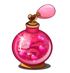 Elixir of love pink perfume bottle with hearts vector