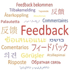 Feedback in different languages vector image vector image