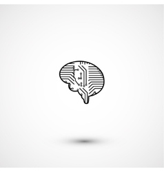 Flat electric circuit brain icon vector