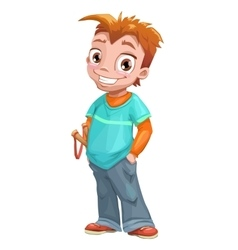 Funny standing red haired boy vector
