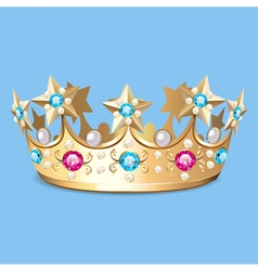 golden crown with pearls Crown vector image vector image