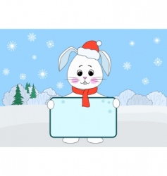 hare with the poster winter vector image vector image