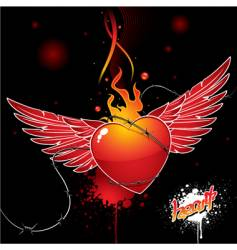 Heart wings vector