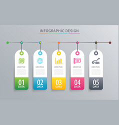 infographics tag banner 5 option template vector image