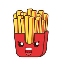 kawaii french fries icon vector image