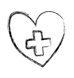 Monochrome hand drawn sketch of heart with cross vector