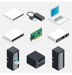 Networking isometric detailed icons set vector image vector image