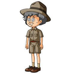 Old man in safari outfit vector
