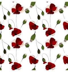 Poppy flower field seamless pattern vector