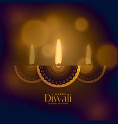 premium diwali old style design with creative diya vector image