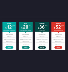 pricing table template design for business vector image vector image