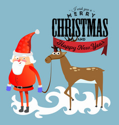 santa claus in red hat and jacket with beard vector image