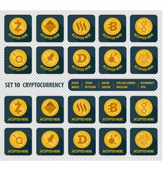 Set of ten different cryptocurrency icon vector