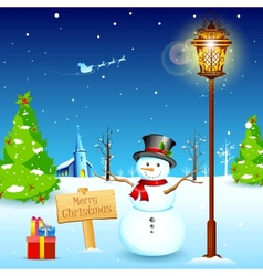 Snowman under lamp post vector