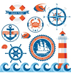 Stylized sea emblems vector