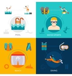 Swimming flat set vector
