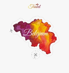 Travel around the world belgium watercolor map vector