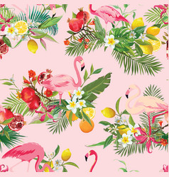 Tropical fruits flowers and birds background vector