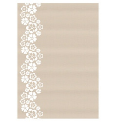 Vertical white lacy flower border vector