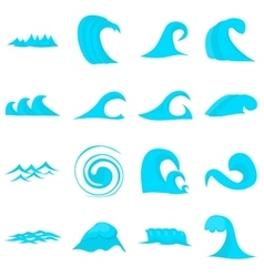 Waves icons set flat style vector image