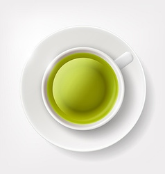 White cup of green tea vector image vector image