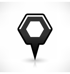 Blank map pin flat location icon hexagon sign vector