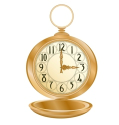 Golden pocket watch vector image