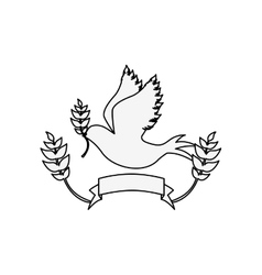 silhouette pigeon with olive branch and label vector image