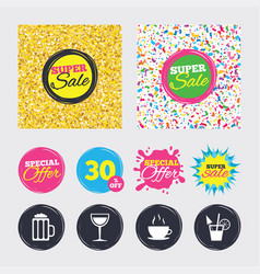 drinks signs coffee cup glass of beer icons vector image