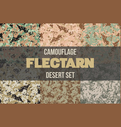 Set of desert flectarn camouflage seamless pattern vector