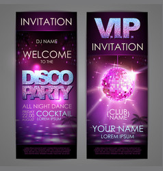 Set of disco background banners disco party poster vector