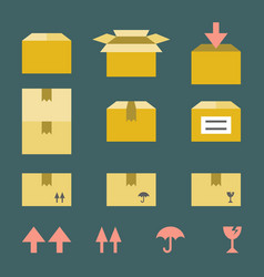Brown paper box with flat style icons vector