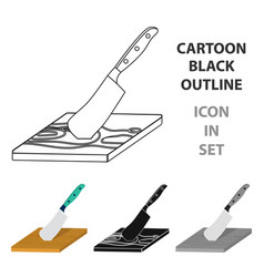 Board and cleaver for food processing food and vector