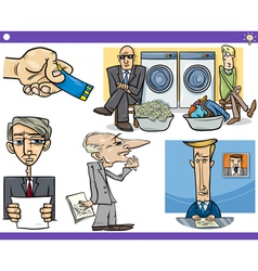 Cartoon concepts and sayings set vector